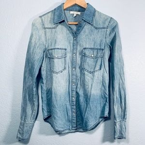 Delia's Chambray Pearl Snap Button Down Top S